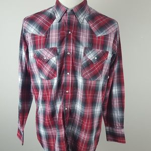 Ely Cattleman Western Pearl Snap Shirt Large